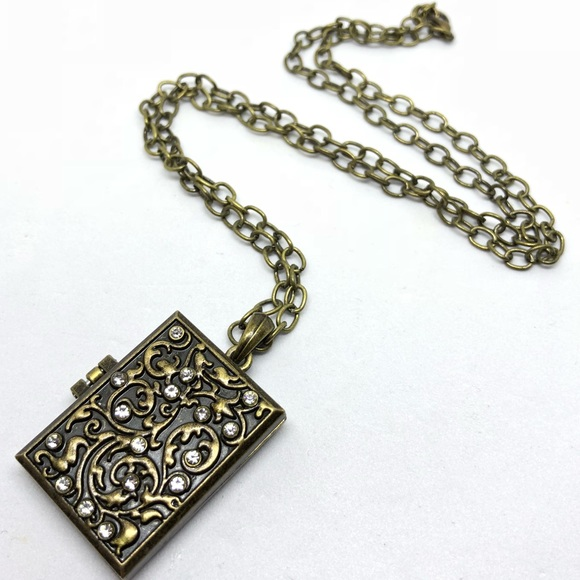 Jewelry antique gold finish book locket necklace poshmark antique gold finish book locket necklace aloadofball Choice Image